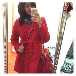 Michael Kors red pea coat jacket